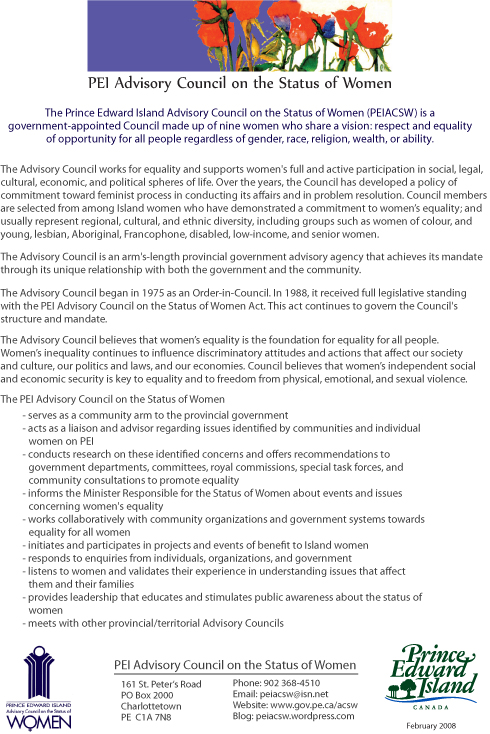 Orientation Sheet, 2008, PEI Advisory Council on the Status of Women