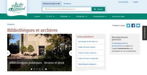 Nouveau site web pour Bibliothèques et archives