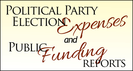 Word graphic announcing the availability of the Party Election Financing and Public Funds Reimbursement Reports post 2015 general election.