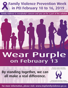 Wear Purple flyer for PEI Family Violence Prevention Week 2019