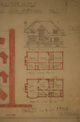 Mr. Reddin residence,  detail of front elevation and floor plans, Acc3607/147-1a